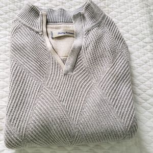 XL Light Gray Tommy Bahama Half Zip Sweater